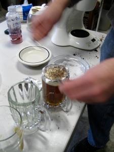 Making a canolli beer.