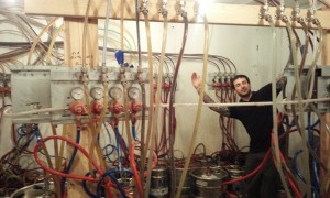 Zachary Uscinski, bartender at the Shepherd and the Knucklead, showing off the massive cold room.