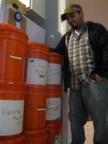 Ed and his grain buckets