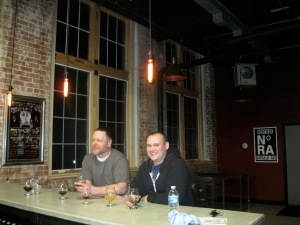 Shane Lentini (left) and Andrew Daigle in Stubborn Beauty Brewing's tasting room