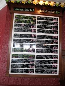 Corner Tavern tap list