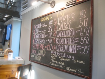 The beer board at Charter Oak Brewing.